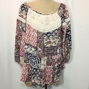 Drop Waist Off Shoulder Boho Peasant Top